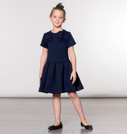 Deux Par Deux Navy Neoprene Short Sleeve Dress with Bow for Girl