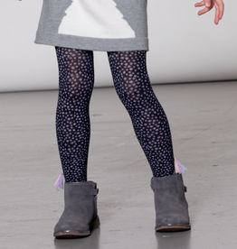 Deux Par Deux Navy Dotted Knit Tights With Tassels for Girl