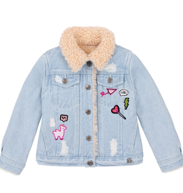 Deux Par Deux Jean Jacket Lined With Pink Boucle for Girl