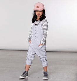 Deux Par Deux Heather Grey Fleece Overall With Buttons for Girl