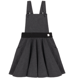Deux Par Deux Charcoal Herringbone Jumper Skirt for Girl