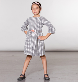 Deux Par Deux Black & Ivory Dress With Cord Belt for Girl