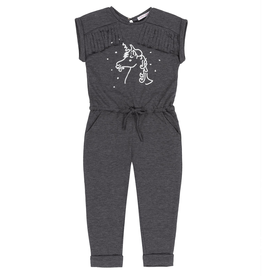 Deux Par Deux Jumpsuit With Silver Foil Unicorn Print for Girl