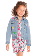 Deux Par Deux Blue Jean Jacket With Funny Patches for Girl