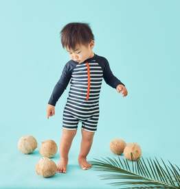 Tea Collection Outrigger Indigo Stripe Rashguard One-piece for Baby Boy