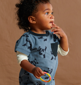 Tea Collection Panda Printed Layered Sleeve Pocket Romper for Baby Boy