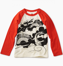 Tea Collection Folk Dragon Graphic Raglan Tee for Boy