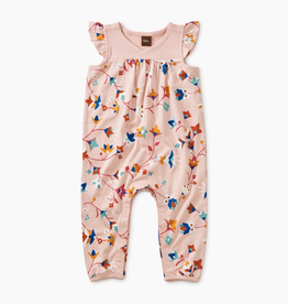 Tea Collection Printed Flutter Sleeve Wrap Romper for Baby Girl