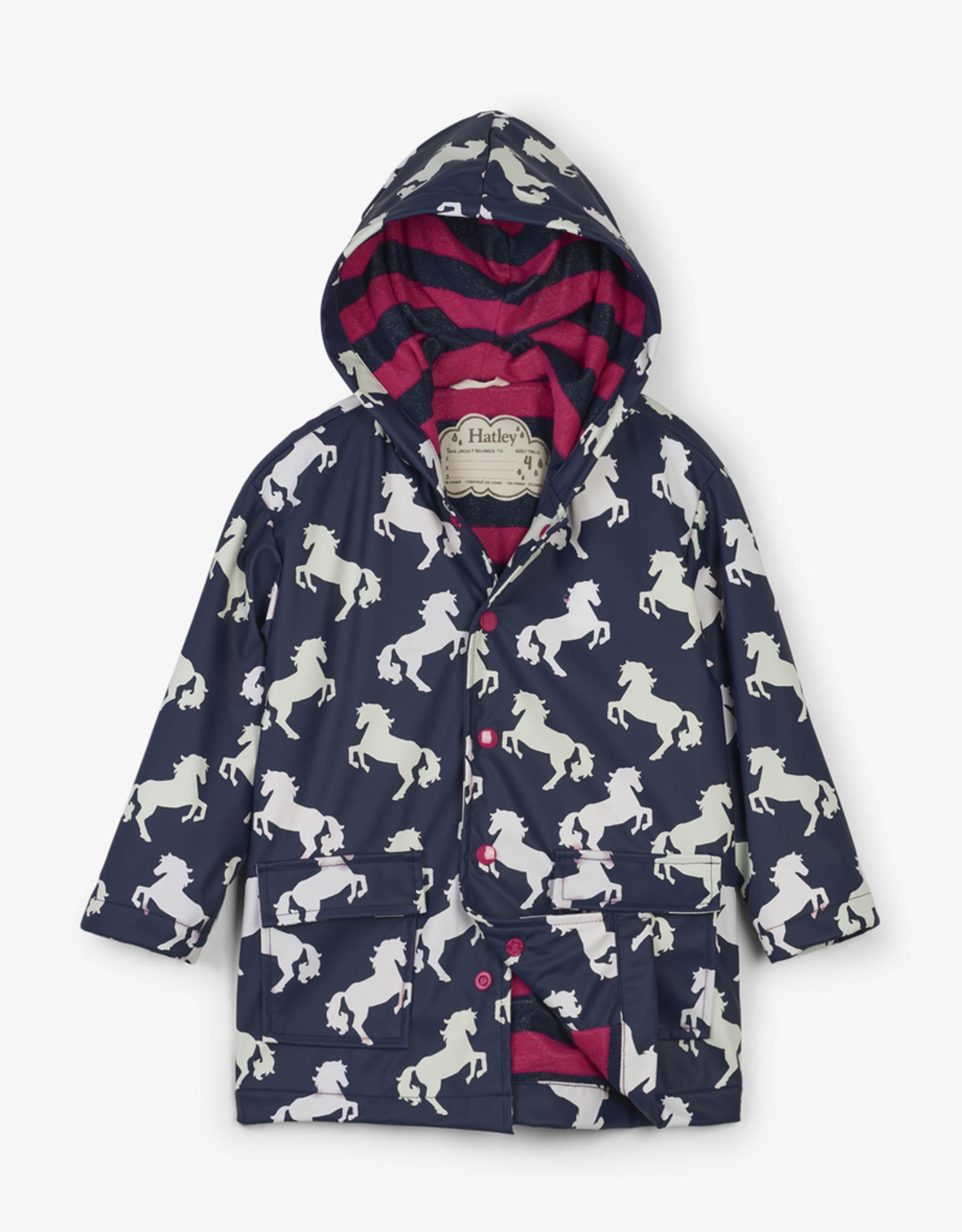 Hatley Playful Horses Colour Changing Raincoat for Girl