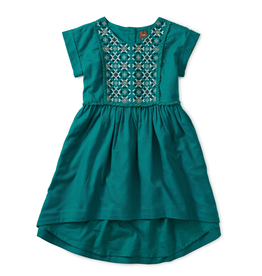 Tea Collection Metallic Embroidered Hi-Lo Dress for Girl