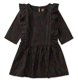 Tea Collection Rainbow Metallic Ruffle Dress for Girl in Jet Black