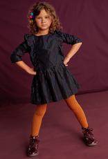 Tea Collection Rainbow Metallic Ruffle Dress for Girl in Jet Black