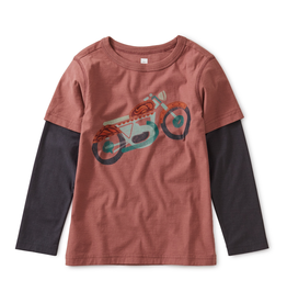 Tea Collection Motorcycle Layered Long Sleeve Graphic Tee for Boy in Cassis