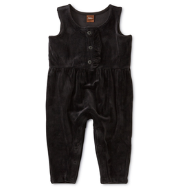 Tea Collection Velour Ruffle Romper for Baby Girl in Jet Black