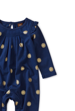 Tea Collection Metallic Ruffled Romper for Baby Girl in Golden Sun