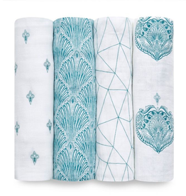 "Aden + Anais paisley teal 47"" classic swaddle set 4-pack"