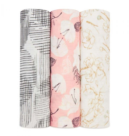 "Aden + Anais pretty petals 47"" silky soft swaddle set 3-pack"