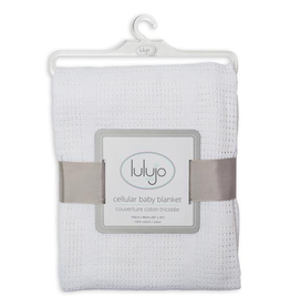 Lulujo Cellular Cotton Baby Blanket in White