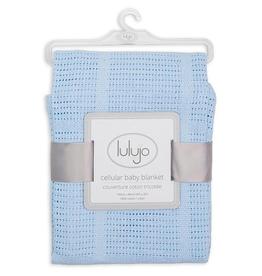 Lulujo Cellular Cotton Baby Blanket in Blue