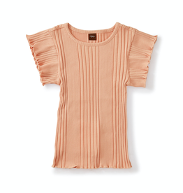 Tea Collection Variegated Rib Flutter Top in Dusty Coral for Girl