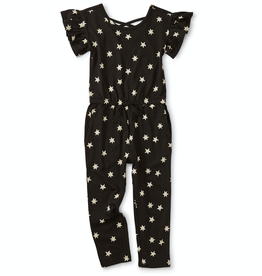Tea Collection Scoop Back Ruffle Jumpsuit in Stars for Girl