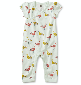 Tea Collection Wrap Romper in Flamingos for Baby Girl