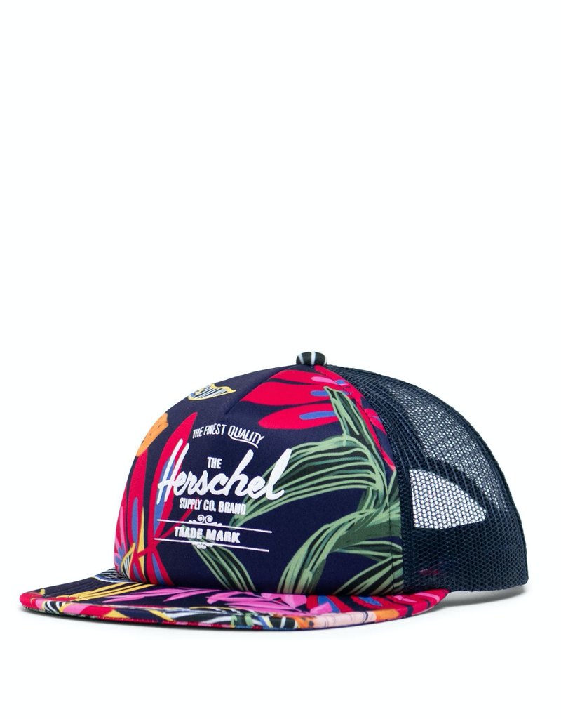 Herschel Supply Co. Whaler Cap Soft Brim | Youth, Jungle Floral Peacoat Peony