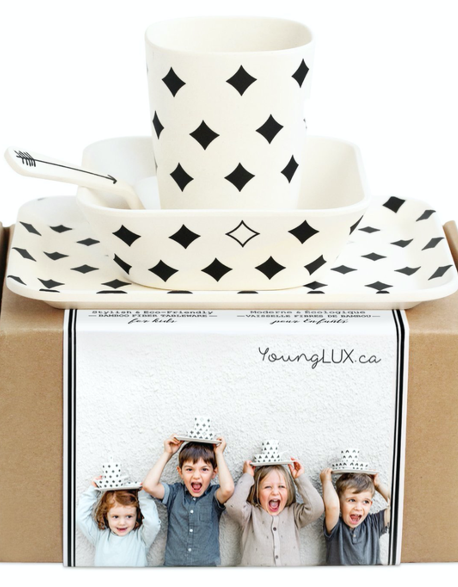 Young Lux Large Bamboo Fiber Plates, Set of 4