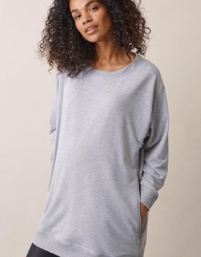 Boob Design BFF Maternity and Nursing Sweatshirt in Grey Melange