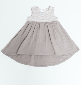 The Mixed Dress in Taupe Stripe