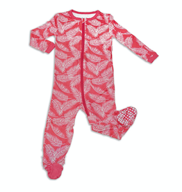 Silkberry Baby Bamboo Footed Sleeper with Zipper in Breezy Leaves Print