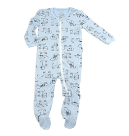 Silkberry Baby Bamboo Printed Footies with Easy Dressing Zipper Dog Print