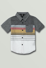 Boys Combo Stripe Short Sleeve Shirt - Black