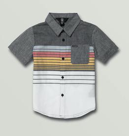 Boys Combo Stripe Short Sleeve Shirt - Black