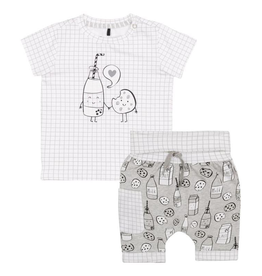 "Deux Par Deux ""Milky Tummy"" Top and Short Set for Baby in Grey"