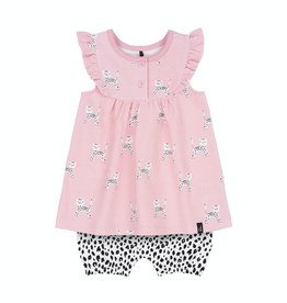 "Deux Par Deux ""Baby Leopard"" Tunic & Short Set for Baby Girl in PInk"