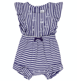 Deux Par Deux Purple and White Striped Romper With Cherry Embroideries for Baby Girl