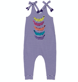 Deux Par Deux Purple and White Striped Jersey Jumpsuit With Bananas Print for Girl