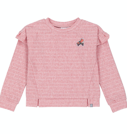 Deux Par Deux Pink Striped Top With Frills And Rollskate Patch