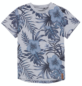 Deux Par Deux Tropical Print T-Shirt With Pocket, Light Heather Grey