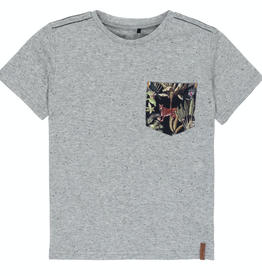 Deux Par Deux T-Shirt With Jungle Printed Pocket for Boy in Grey