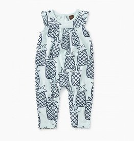 Tea Collection Peck Of Pineapples Printed Flutter Romper for Baby Girl