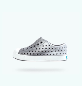 Native Shoes Jefferson Youth in Dublin Grey/ Shell White/ Silver Metallic Ombre