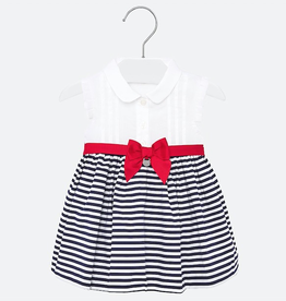 Mayoral Striped Dress with Bow for Baby Girl in Navy