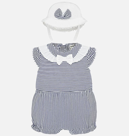 Mayoral Nautical Striped Romper Set for Baby Girl