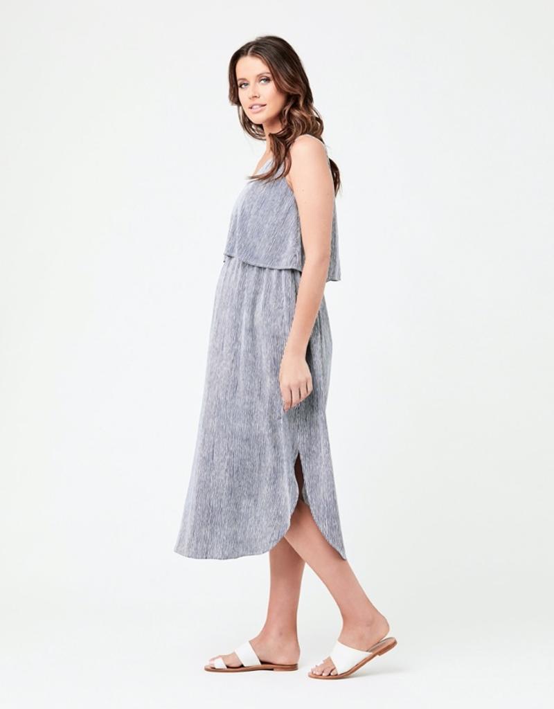 Ripe Maternity Indigo & White Stella Stripe Nursing Dress
