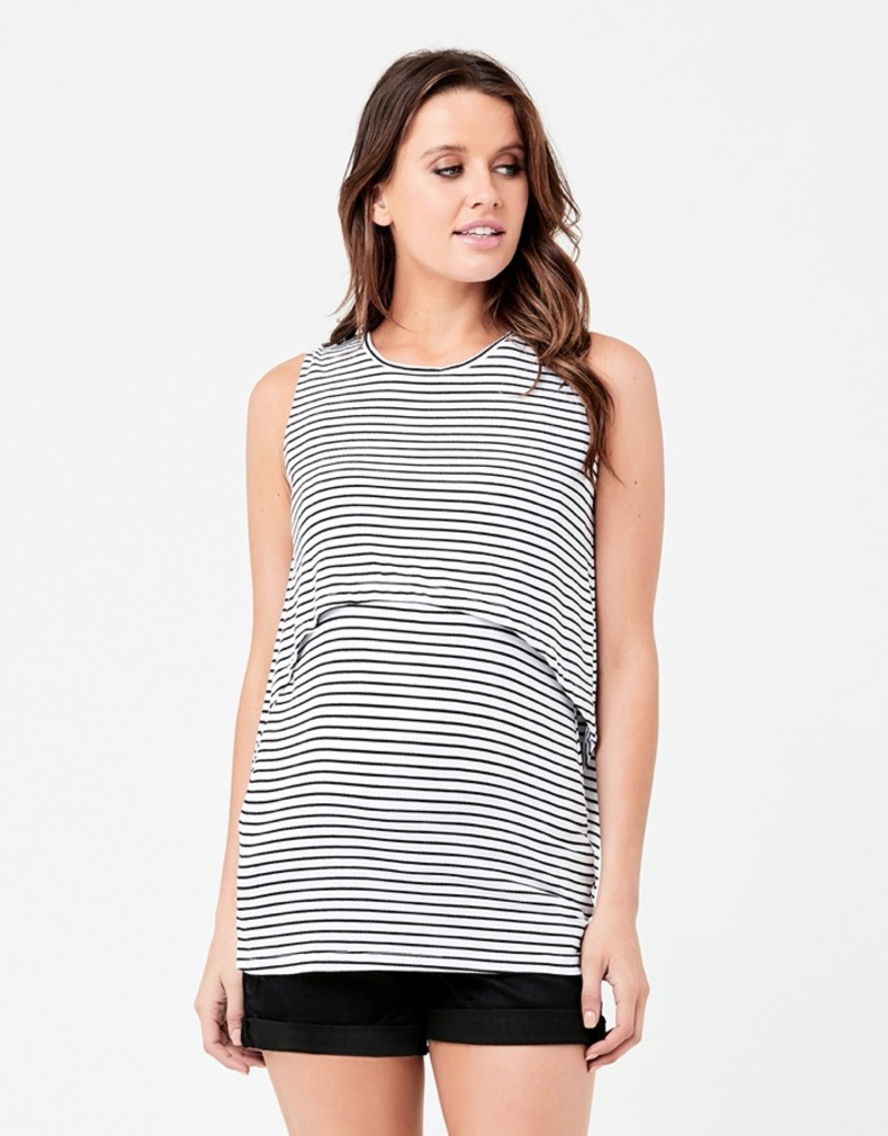 Ripe Maternity White & Black Stripe Swing Back Nursing Tank