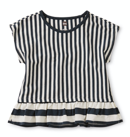 Tea Collection Striped Ruffle Hem Top in Indigo for Girl