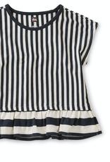 Tea Collection Striped Ruffle Hem Top in Indigo for Girl