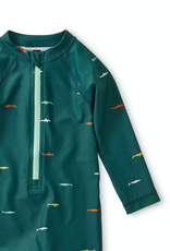 Tea Collection Printed Shortie Rash Guard in Swimming Sharks for Boy